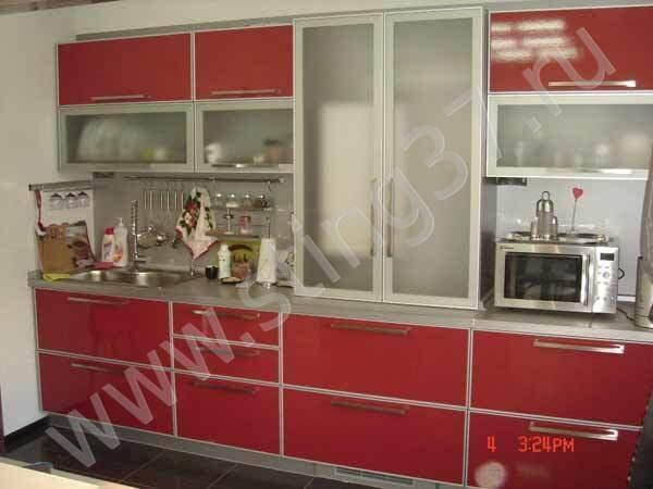 хайтек красный Кухни. кухонная мебель г. Иваново.